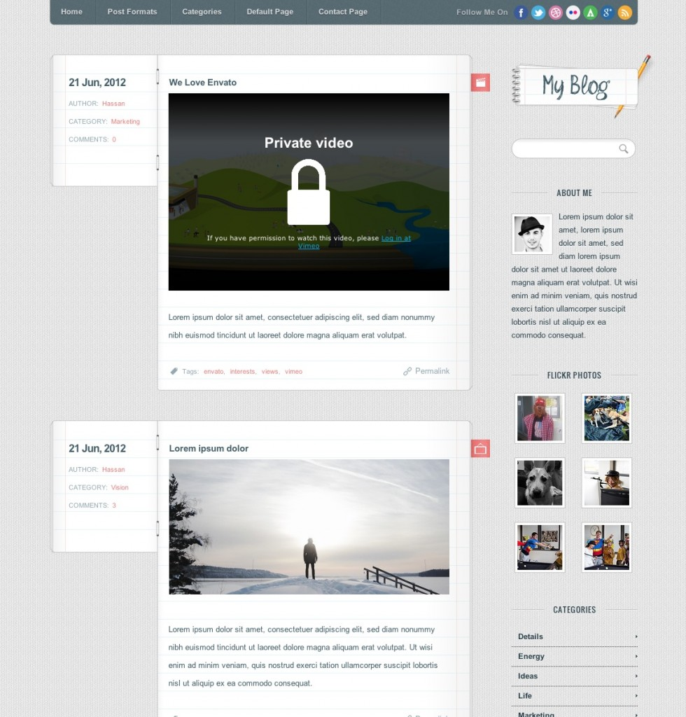 My Blog wodpress templates