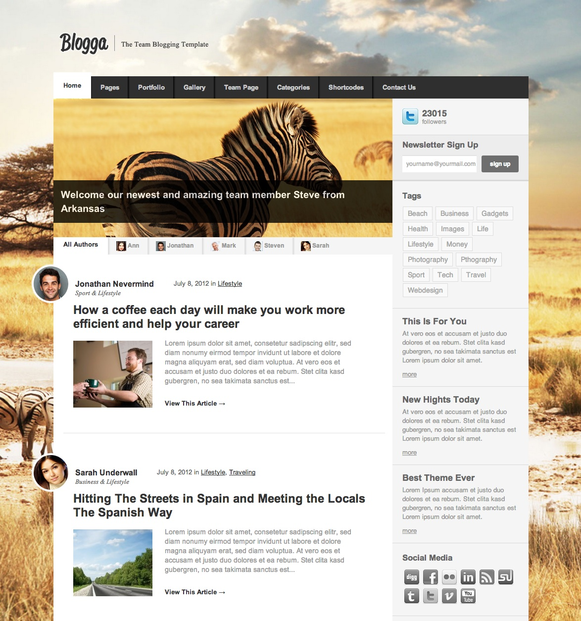 Blogga Wordpress Theme
