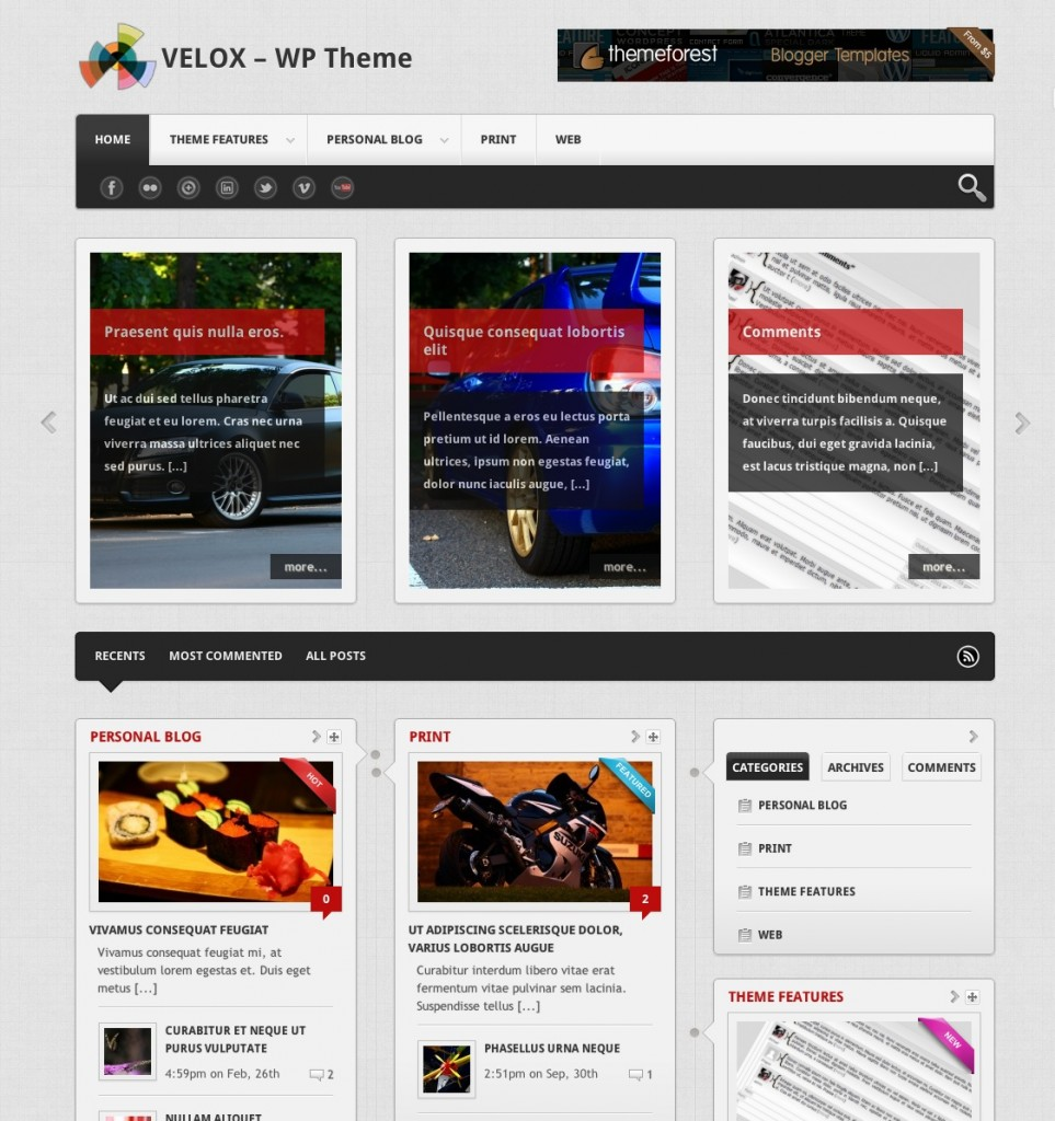 velox blog wordpress theme
