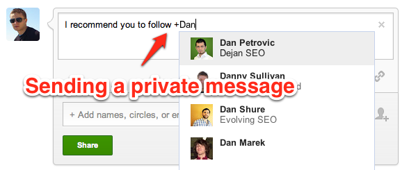 sending a Private message on Google plus